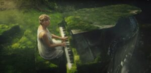 taylor swift is playing an east piano song