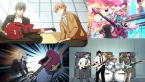 anime guitarists playing guitar